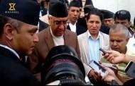 Congress President Sher Bahadur Deuba talking with media